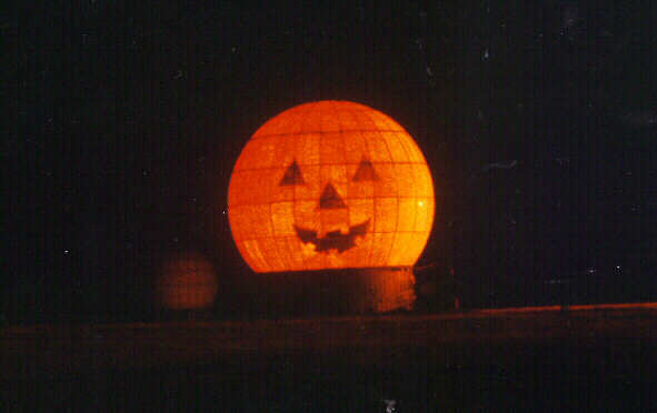 one of our satelittes decorated as a pumpkin